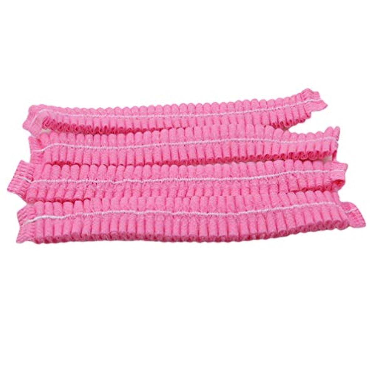 ポテト感謝しているブロックLJSLYJ 100ピース不織布使い捨てシャワーキャッププリーツアンチダスト帽子女性男性風呂キャップ用スパヘアーサロン美容アクセサリー、ピンク