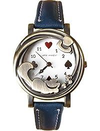 【リトルマジック】(W ネイビー) アンティーク チェシャ 猫 腕時計 レディース 本革 子供 大人 兼用 アリス ネコ 時計 (ホワイト文字盤 ネイビー) LM1228
