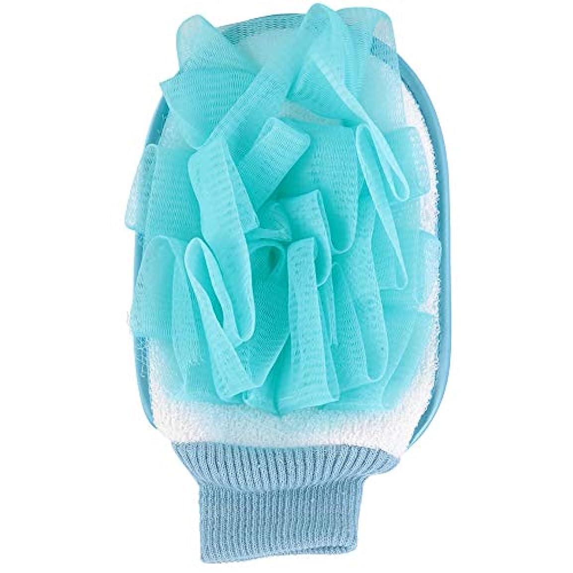 ビジョン秘密の寮Tenweet 浴用手袋 シャワーグローブ お風呂手袋 ボディタオル 泡立ち 角質除去 垢すり 入浴用品 バスグッズ 柔らかい 2色(青)