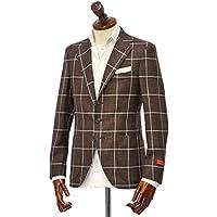 先行販売 早得 【袖修理無料】[ISAIA【イザイア】] シングルジャケット 8155N 470 8C SAILOR ウール シルク リネン ウィンドペーン ブラウン×ホワイト