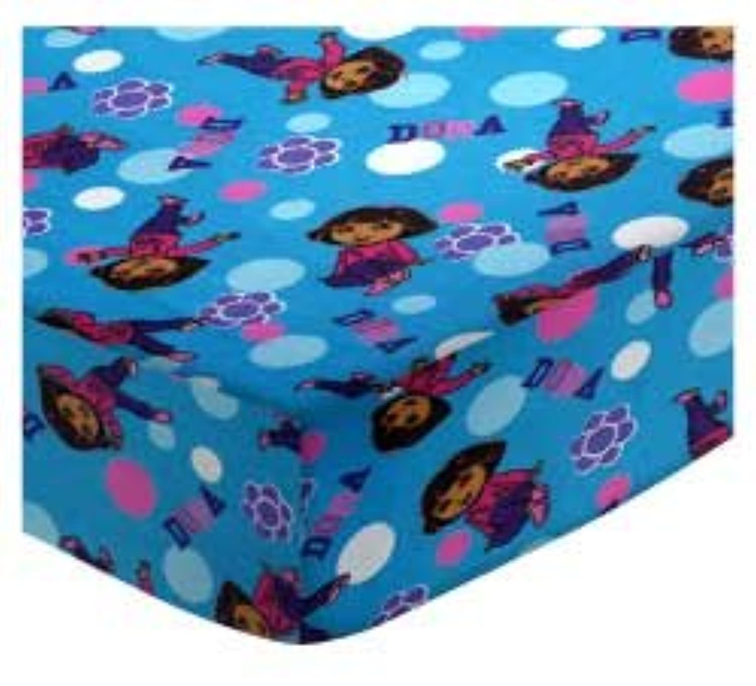 SheetWorld Fitted Bassinet Sheet - Dora Blue - Made In USA by sheetworld