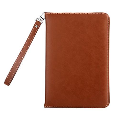 iPad Mini 4 ケース Abestbox® スタンド機能 カード収納 iPad mini4 専用 手帳型 PU レザー カバー ストラップ付き オートスリップ機能 (iPad mini 4 (ブラウン))