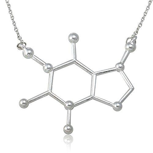 Umジュエリークール合金カフェイン分子化学科学ネックレスペン...