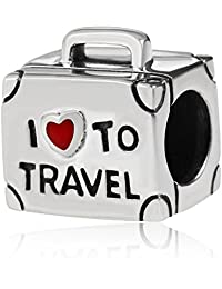 """Sterling Silver Charm Fit Pandora Bracelet Chains""""I Love to Travel"""" Suitcase Bead 925 Silver Authentic"""
