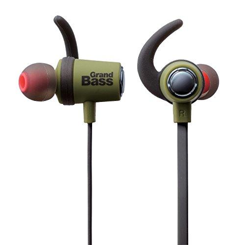 エレコム Bluetooth ブルートゥース イヤホン ワイヤレス 迫力の重低音 フラットケーブル リモコンマイク付 GrandBass 1年間保証 グリーン LBT-HPC40MPGN -