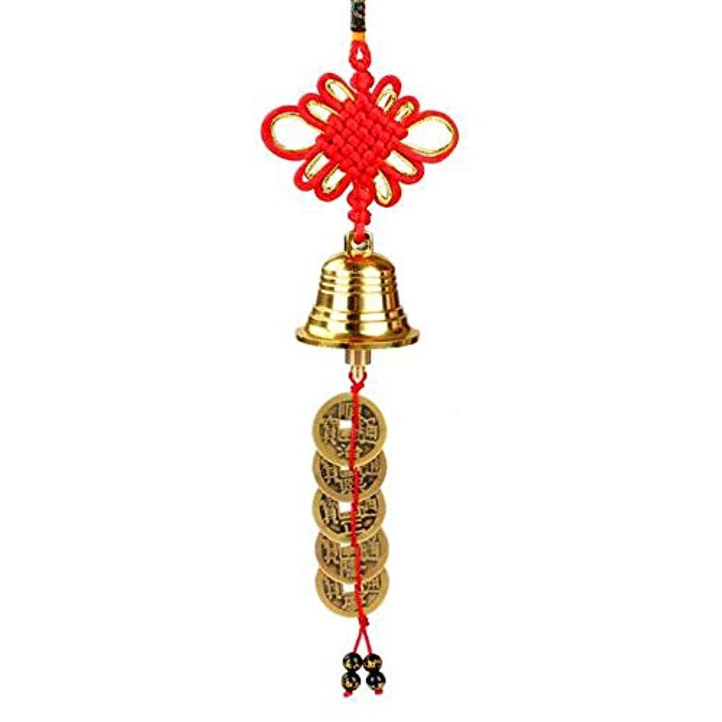 パッケージ誠実シエスタJielongtongxun 風チャイム、中国のノット銅ベルホームデコレーション、ゴールド、サイズ28センチメートル,絶妙な飾り (Size : 28*3.8cm)