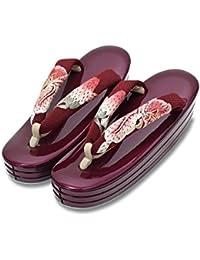 [ 京都きもの町 ] 礼装 草履単品 百合のお花刺繍鼻緒×紫色台 Lサイズ