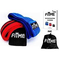 FITmeプレミアムExercise Resistanceヒップバンドのセット3 – ソフトでリカバリ&非スリップワークアウトGlutes、ヒップ、と脚 – ストレッチのバンド、Squatting、ピラティス、ヨガ、ホーム& gym-free練習ガイド& Carryバッグ