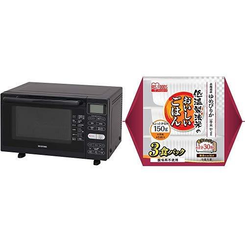 【セット買い】アイリスオーヤマ オーブンレンジ 18L ブラック MO-F1802-B & 低温製法米 パックごはん ゆめぴりか 国産米100% 150g×3個 セット