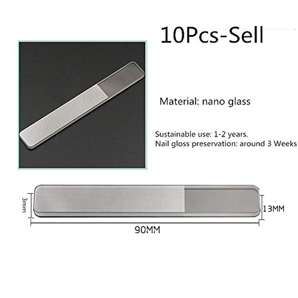 爪やすり ナノガラスネイルファイル10個パック、穏やかで正確なネイルシェーピングのための両面ファイルバッファ、旅行用ペディキュアマニキュアキットのための洗える永久表面 ネイルアートツール (色 : Clear, Size...