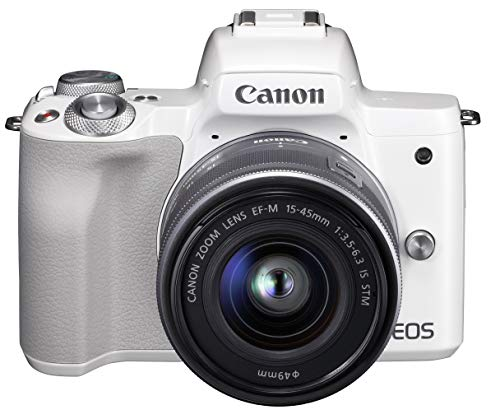 Canon ミラーレス一眼カメラ EOS Kiss M ホワイト レンズキット EF-M15-45 IS STM付属 EOSKISSMWH-1545ISSTMLK