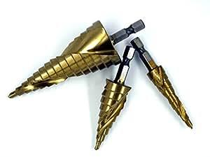 六角軸 スパイラル ステップ ドリル ( 鉄鋼用 )  3本組 セット / チタン コーティング 加工 [ 専用ケース付 ] (3種(4-12mm<5段>/4-20mm<9段>/4-32mm<15段>)×1セット, 六角軸)