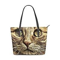 c860a41ae6c5 AyuStyle ハンドバッグ 手提げバッグ レディース かわいい 猫柄 ネコの写真 トートバッグ PUレザー 肩掛け