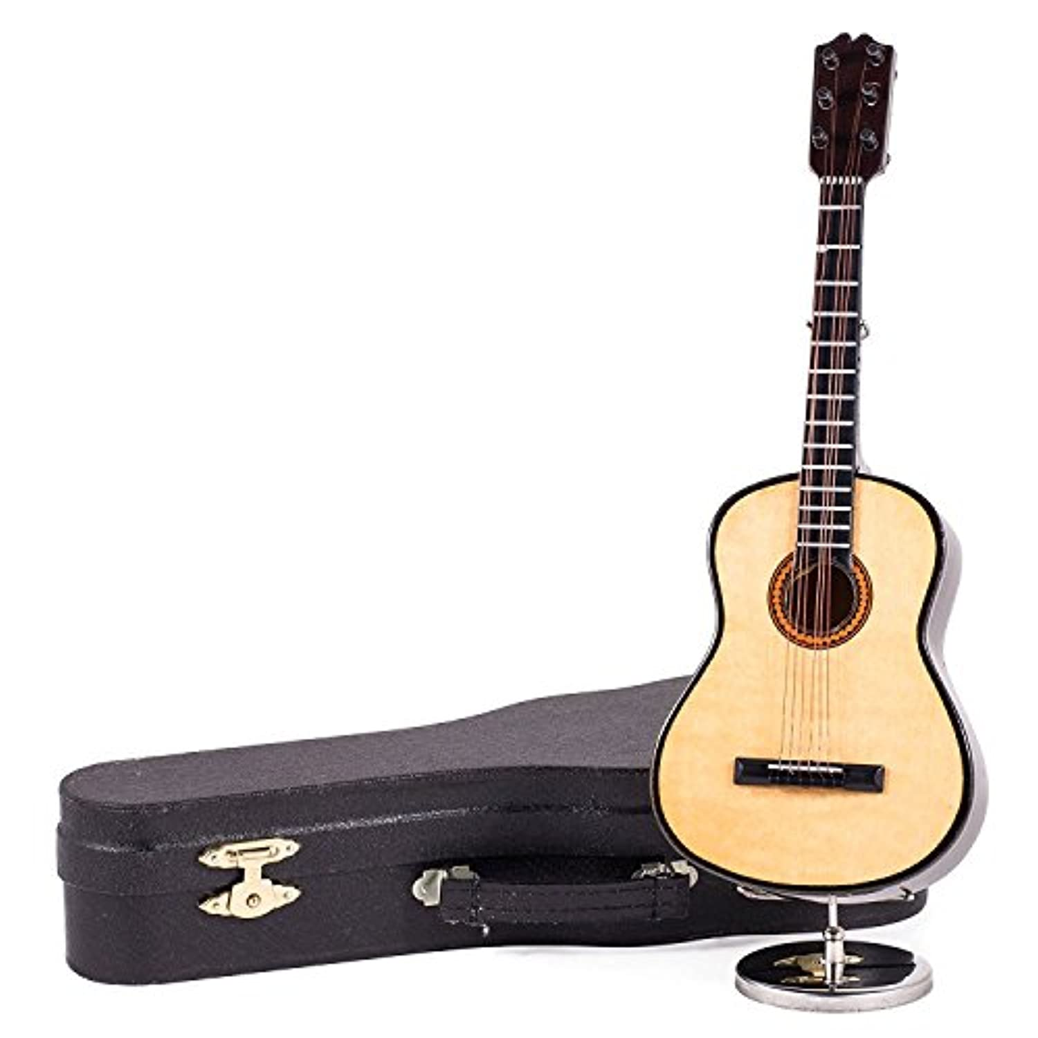 23cm Wooden Classic Steel String Guitar Music Box and Black Case - Plays Hey Jude