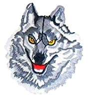 ワッペン 狼 オオカミ グレー C-90