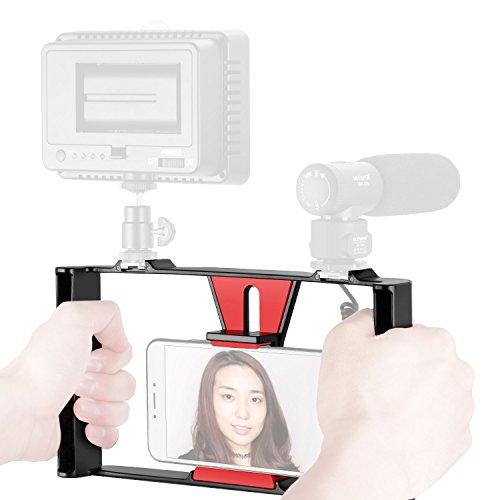 Neewer スマホビデオリグ 動画撮影 ブイログ リグケース 手持ちグリップ スタビライザー コールドシューマウント付 iPhone 7 Plus Samsungと他の7インチ内のスマホ、LEDライト、マイクロホンに対応
