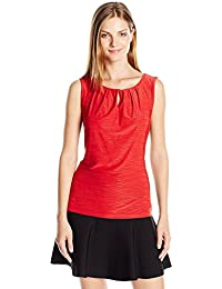 Tahari by Arthur S. Levine Women's Textured Knit Ity Top Red X-Large [並行輸入品]