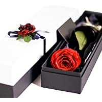 Makefuture プリザーブドフラワー ギフト ダイヤモンドローズ プロポーズ 一輪 薔薇 (ブライトレッド)