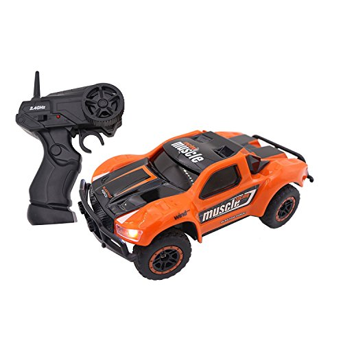 Smija ラジコンカー 2.4GHz無線操作 LEDライト搭載 4WD 多機能 1:43ミニRCカー 子どもおもちゃ オレンジ