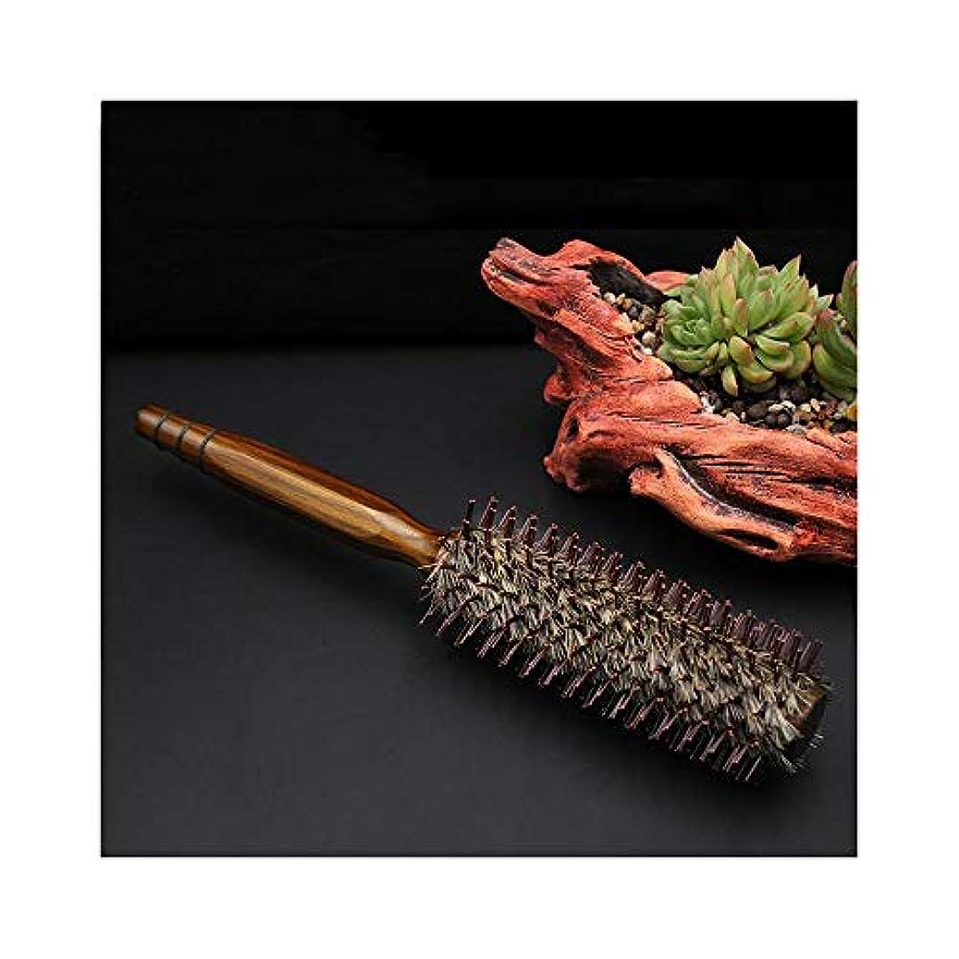 穏やかな有限責Fashian毛ラウンドブラシ静電気防止フェラドライヤー&カーリングウッドロールコーム髪のくし ヘアケア (サイズ : M)