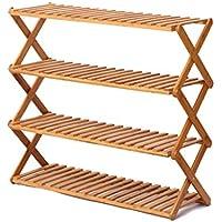 靴の棚シンプルな竹の多層靴のキャビネット棚折り畳み靴のラック竹フラワースタンド シューズホルダー (Color : Brown, Size : 70x28x61cm)