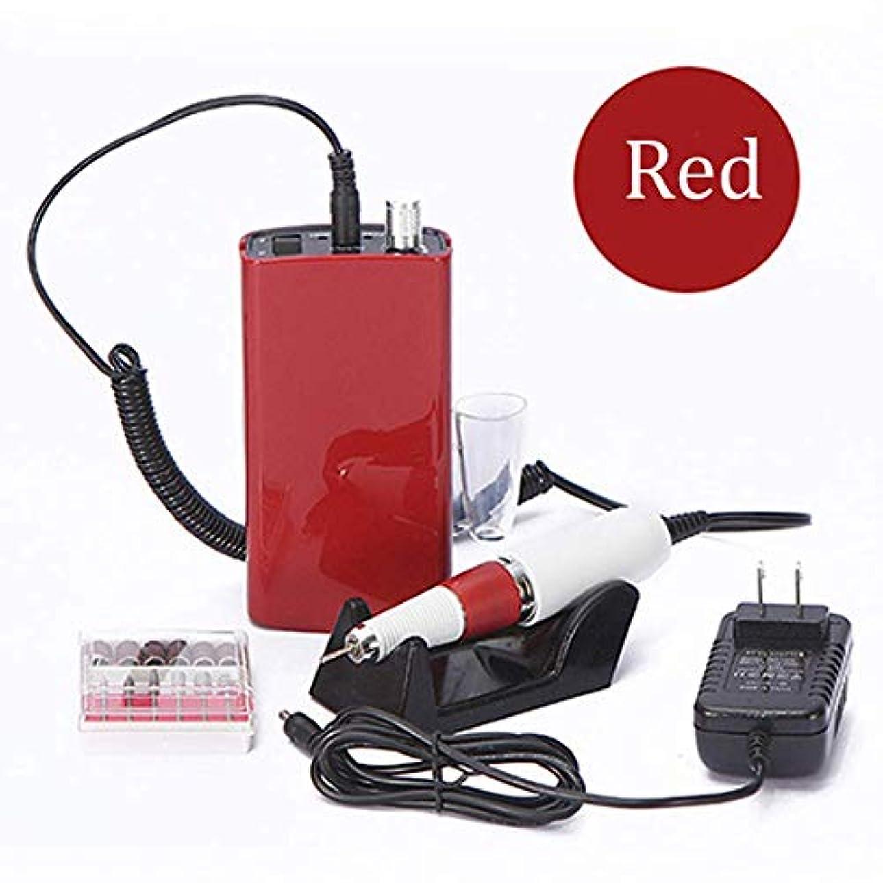 悪夢検出する真実充電式18W 30000 rpm電動ネイルドリルマシンアクリルネイルファイルドリルマニキュアペディキュアキットセットネイルアート機器、ピンク,赤