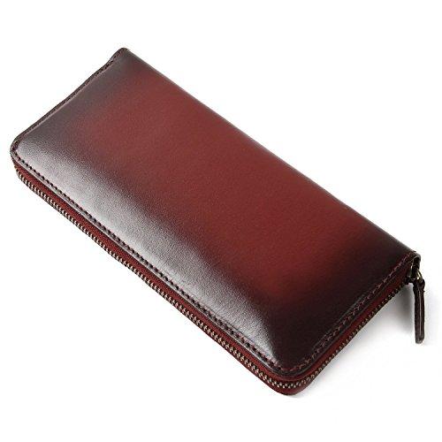 (ラファエロ) Raffaello 一流の革職人が作る スフマート製法で染色したメンズラウンドファスナー長財布 (ワイン)
