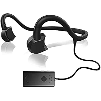 COUXILY 骨伝導 ヘッドホン 通話 骨伝導 ヘッドホン 超軽量の有線 骨伝導スポーツイヤホン 高音質 防水 防汗 ノイズキャンセル (Bluetooth(黒))