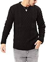 JIGGYS SHOP (ジギーズショップ) ニット セーター メンズ クルーネック ケーブル編み 厚手 長袖 防寒 ボーダー アメカジ XL A ブラック