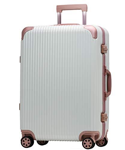 Proevo スーツケース アルミフレーム 機内持込〜大型 軽量 超消音 ダブルキャスター 8輪 TSA キャリーケース キャリーバッグ (M(3〜5泊)-50L, ホワイト/ローズ)