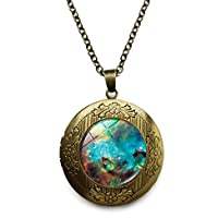 Vintage Bronze Tone Locket Picture Pendant Necklace Galaxy Nebula Art Included Free Brass Chain Gifts Personalized