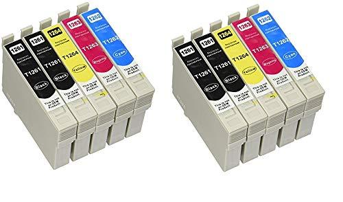 ARIA SUPPLIES 再生インクカートリッジ 大容量 Epson 126 T126 (4x ブラック、2x シアン、2x イエロー、2x マゼンタ、10パック)