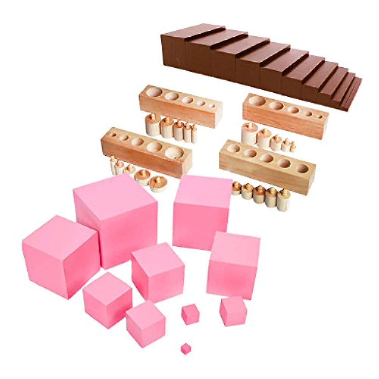 monkeyjack Montessori Sensorialファミリセットブラウン階段+ピンクタワー+円柱ブロックトイギフトforキッズ