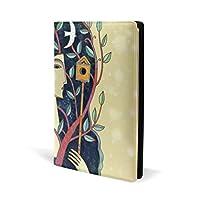 ブックカバー a5 抽象 女の子 鳥 樹木 文庫 PUレザー ファイル オフィス用品 読書 文庫判 資料 日記 収納入れ 高級感 耐久性 雑貨 プレゼント 機能性 耐久性 軽量