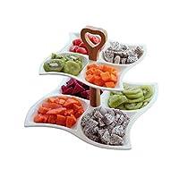 フルーツプレート、フルーツバスケットスナックプレート セラミック二重層フルーツ盛り合わせケーキラックマルチグリッドペストリードライフルーツプレートスナックボックス朝食プレート