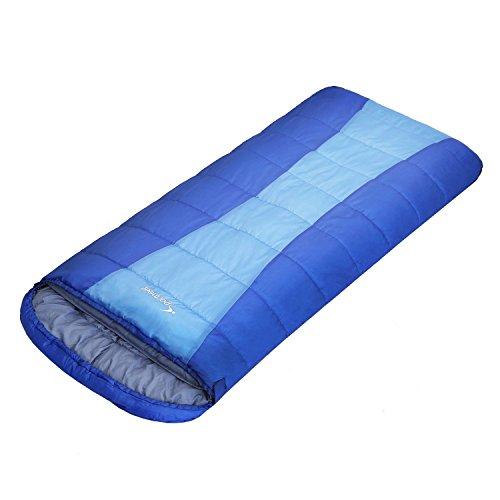 Ohuhu 寝袋 封筒型 2人用 丸洗いok 連結可能 最低使用温度 -5度 枕付き (ブルー-1)