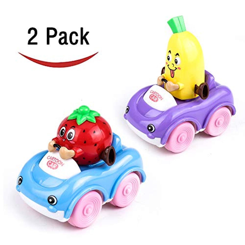 IAMGlobal 幼児用 プッシュアンドゴー カートゥーン 車載おもちゃ フリクション式車 赤ちゃん おもちゃ 男の子 女の子用 可愛い赤ちゃん カートゥーン 車 2個セット IAMGlobal
