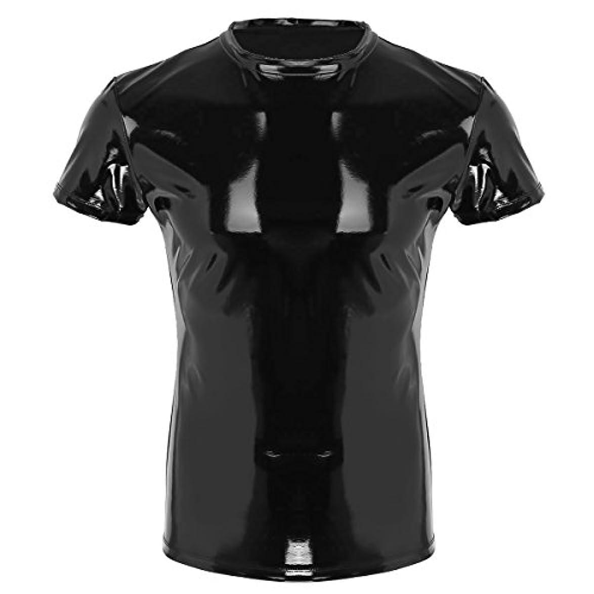 換気製造余計な(フィーショー) FEESHOW メンズ 男性 Tシャツ トップ フェイク レザー シャツ 筋肉シャツ 上着 セクシー かっこいい