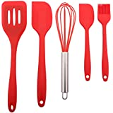 Useekoo 5 Piecces Kitchen Baking Utensils Set Silicone Baking Tool Set Heat-Resistant Non-Stick Spatula/Whisk/Brush/Big Scraper/Small Scraper for Baking Cooking BBQ