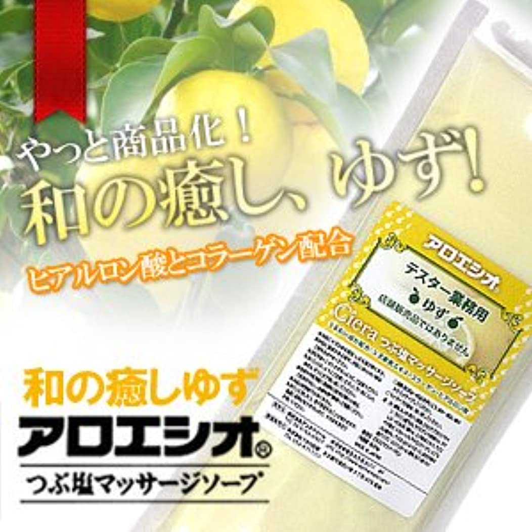 分まもなく受益者ゆず アロエ塩 800g つぶ塩マッサージソープ/フタバ化学 アロエシオ