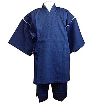 生地がしっかりしています。ワンランク上の日本紬織り甚平(つむぎおりじんべい) (3L, 青)