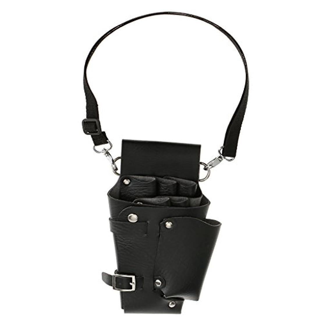 自発的上回る救出Perfk 多機能 PU製 はさみ袋 櫛 クリップ 便利グッズ 腰間タイプ 収納バッグ 理髪屋 ホルスター