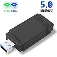 wifi AC1300 MU-MIMO 11ac USB3.0 デュアルバンド 2.4G/5GHz アダプタ Bluetooth5.0 Windows XP/7/8/8.1/10 Linux Mac OS 対応
