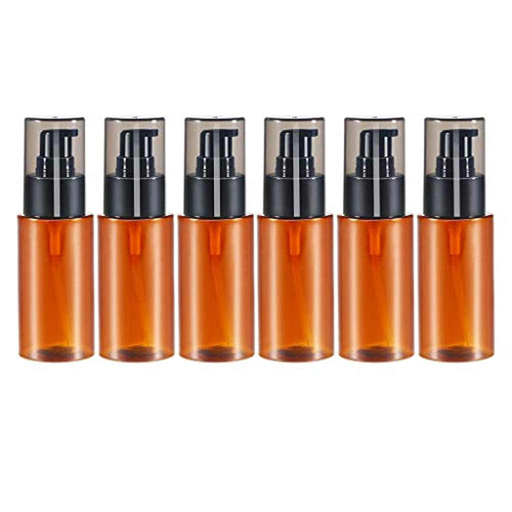 代表に応じて敵対的6個 60ml エッセンシャルオイル 化粧品ボトル スプレーボトル 詰め替え 保存容器 全2色 - 褐色