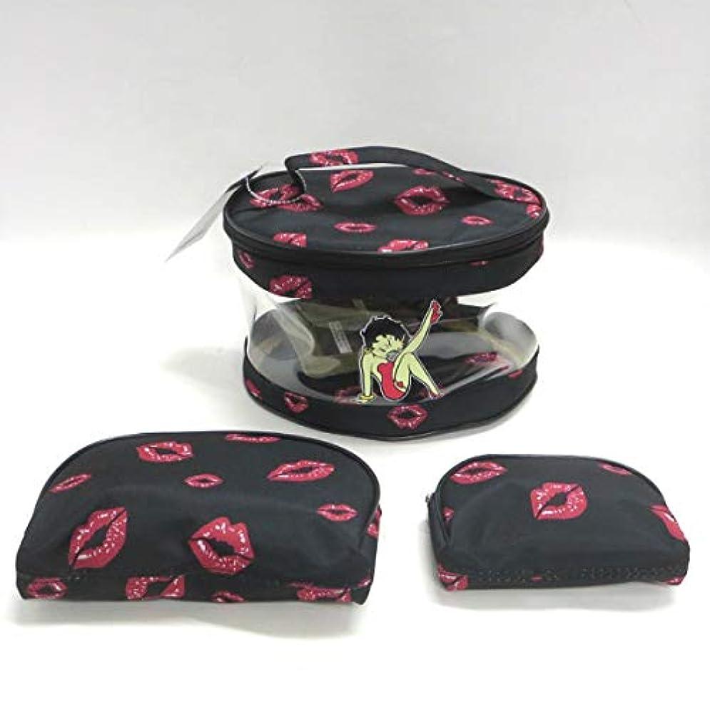 コーヒー定期的な姪Betty Boop ベティーブープ コスメティック バッグ 3Pセット (KISS BLACK) コスメバッグ