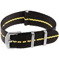 StrapsCo Premium Woven Nylon Seat Belt NATO Watch Band Strap - 22mm - Black & Yellow