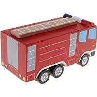 KESOTO 赤ちゃん 子供用 トラックおもちゃ 木製 車モデル トラックモデル 贈り物 9色選ぶ - 消防車