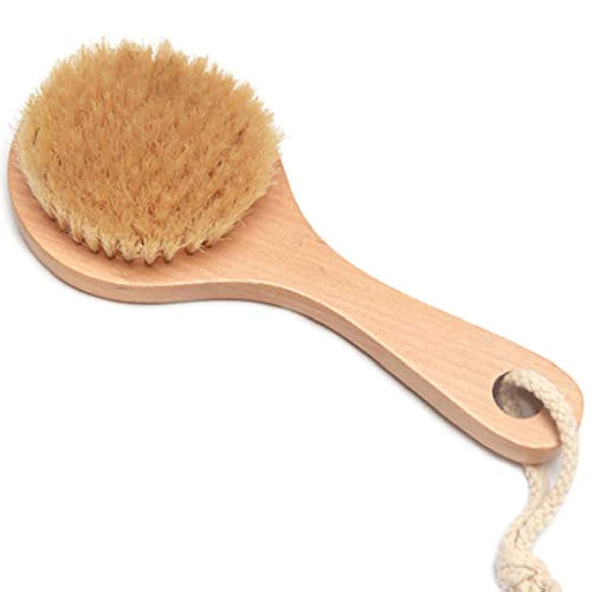 可能性火山学者ホバーバスブラシバックブラシロングハンドルやわらかい毛髪バスブラシバスブラシ角質除去クリーニングブラシ (Color : Wood color, Size : 20*7.5cm)