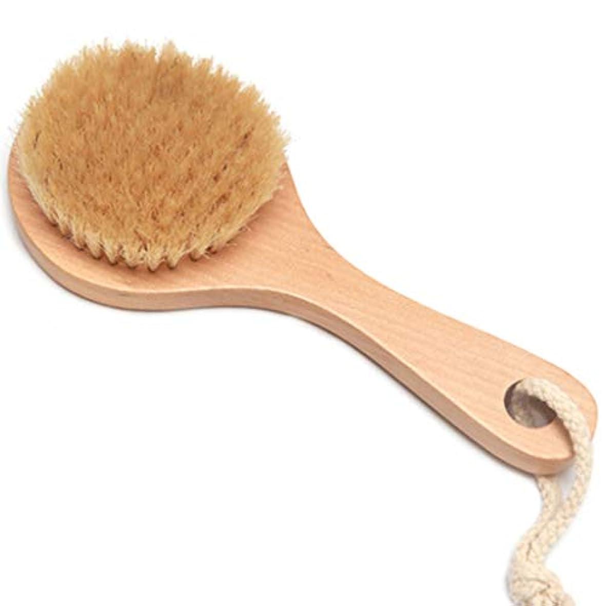 提供する夫有望バスブラシバックブラシロングハンドルやわらかい毛髪バスブラシバスブラシ角質除去クリーニングブラシ (Color : Wood color, Size : 20*7.5cm)