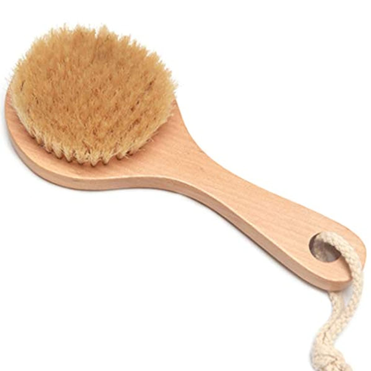 戸棚クロニクル離すバスブラシバックブラシロングハンドルやわらかい毛髪バスブラシバスブラシ角質除去クリーニングブラシ (Color : Wood color, Size : 20*7.5cm)
